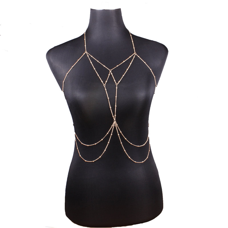 e39b538d1cc Sexy Body Chain Bra Necklace Waist Belly Chains Gold Fashion Body Jewelry  for Women Beach bodychain Will and Sandy DROP SHIPPING 162681