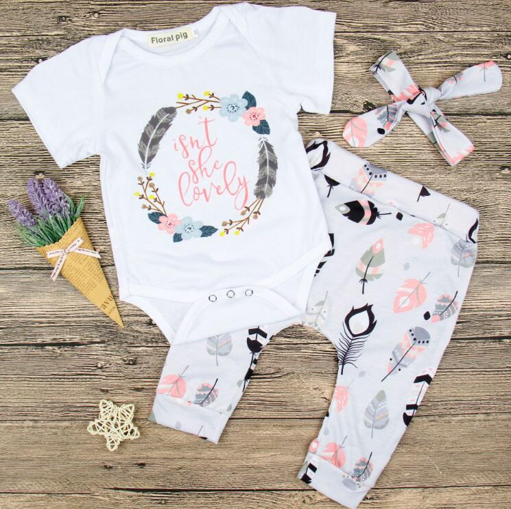 f8247b2f8720c Summer baby girl clothes Sets Baby Girl Short Sleeve Floral Feather Rompers  Pants Headband Outfits 3pcs Baby Ins kids clothing BY0973
