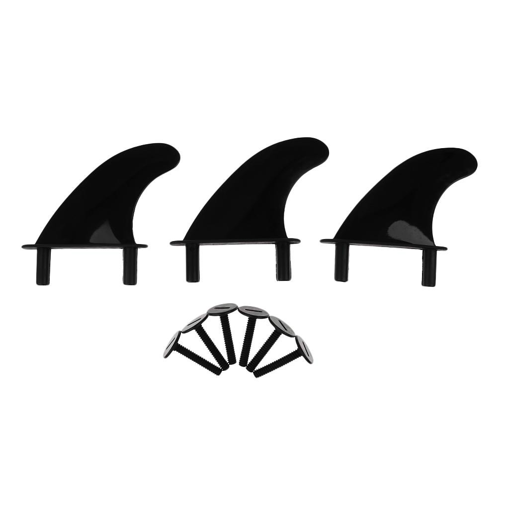 3Pcs Plastic Soft Top Surf Fin & 6 Fins Screws For Surfboard Softboard And SUP Stand Up Paddle Board