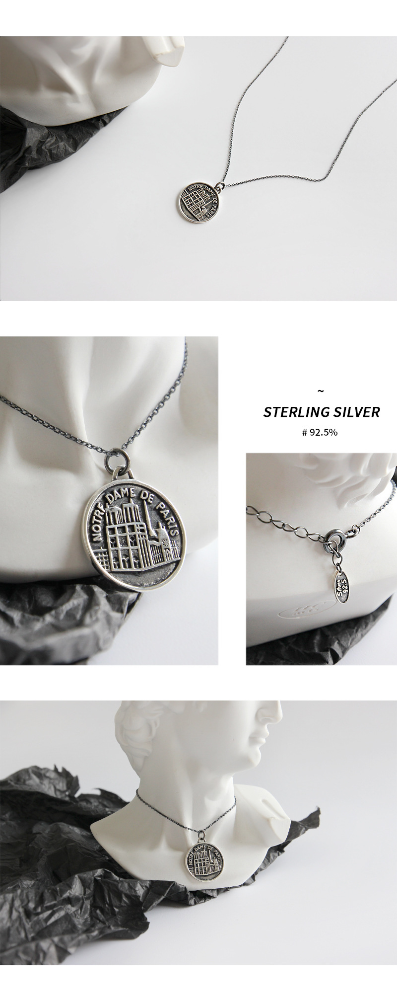 Wholesale Vintage Notre Dame De Paris Pendant Necklaces 925 Sterling Silver  Coin Tag Pendant Necklaces For Men Women Jewelry DHL Wholesale