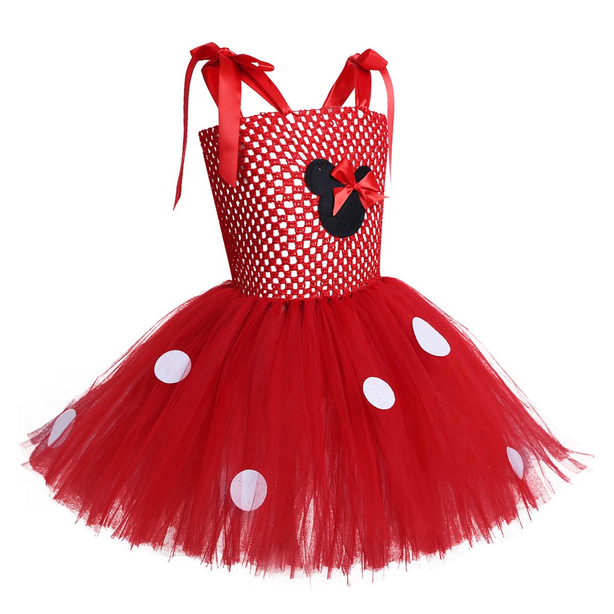 35cb924f07a827 Fait à la main jolies filles robe de dessin animé rose Tutu robe bébé 2  couche Crochet Tulle Tutus avec points ruban arc et bandeau enfants robe ...