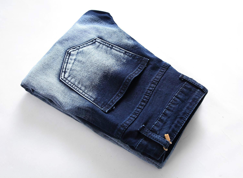 Mens Pants Casual Denim Blue Jeans Spring Autumn Straight Slim Fit Long Pants with Zipper Stars