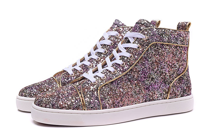 54692c7c77e2 New Fashion High Top Multicolored Glitter Red Bottom Shoes For Men ...