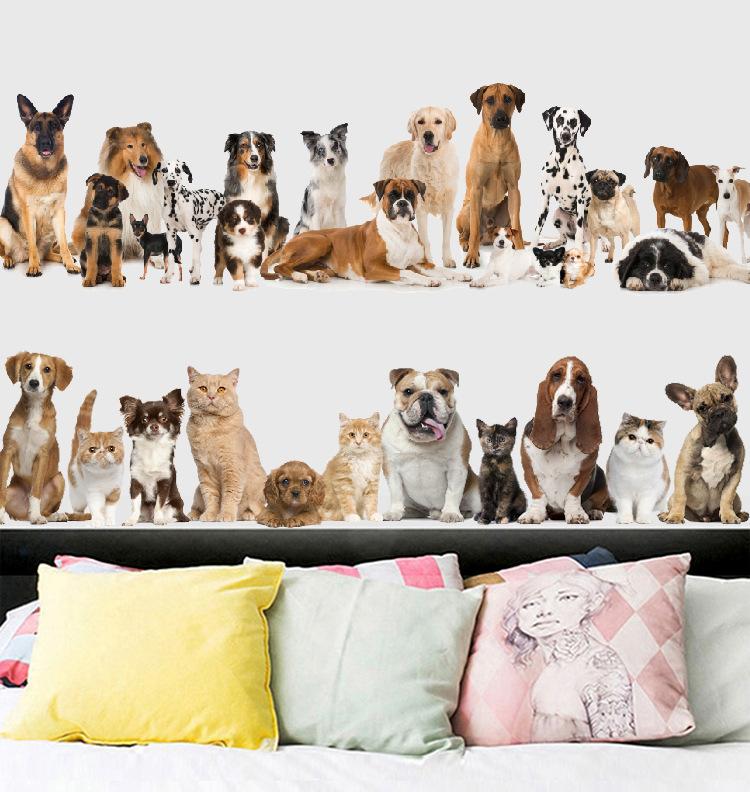 retail 60 90cm cartoon animal home decor wall stickers cat dog rh dhgate com