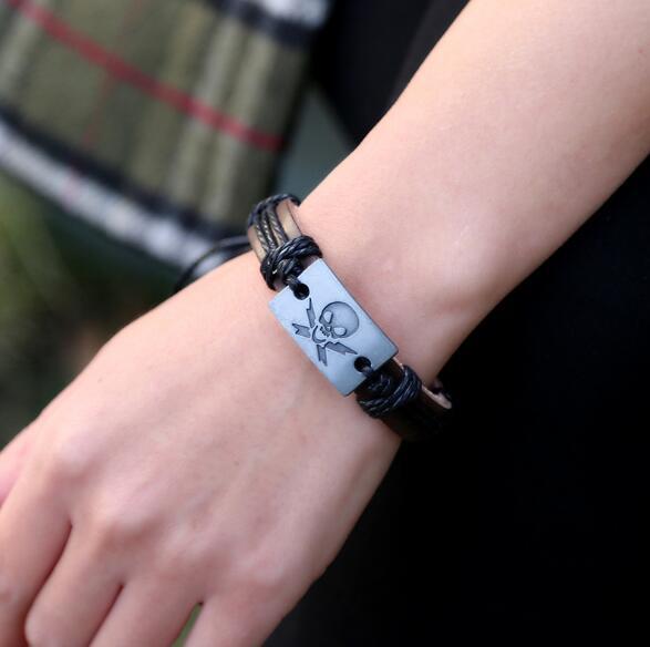 100% Leather Bracelet Punk Style Skull Charm Men Bracelet Fashion Alloy  Charms Bracelet Jewelry Party Fine Jewelry Leather For Unisex Charm  Bracelets