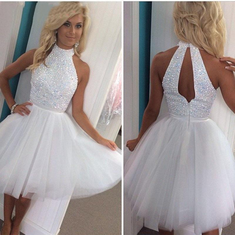 2019 Luxury White Beaded Short Keyhole Back Prom Dresses A Line High Neck  Plus Size Homecoming Party Dresses Formal Evening