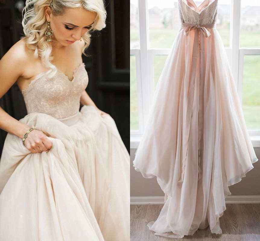 2018 Blush Pink Lace Top Wedding Dresses Custom Made Sweetheart