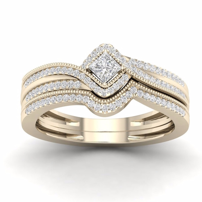 Women Ladies Simple Rose Gold Crystal Wedding Engagement Band Ring Jewelry