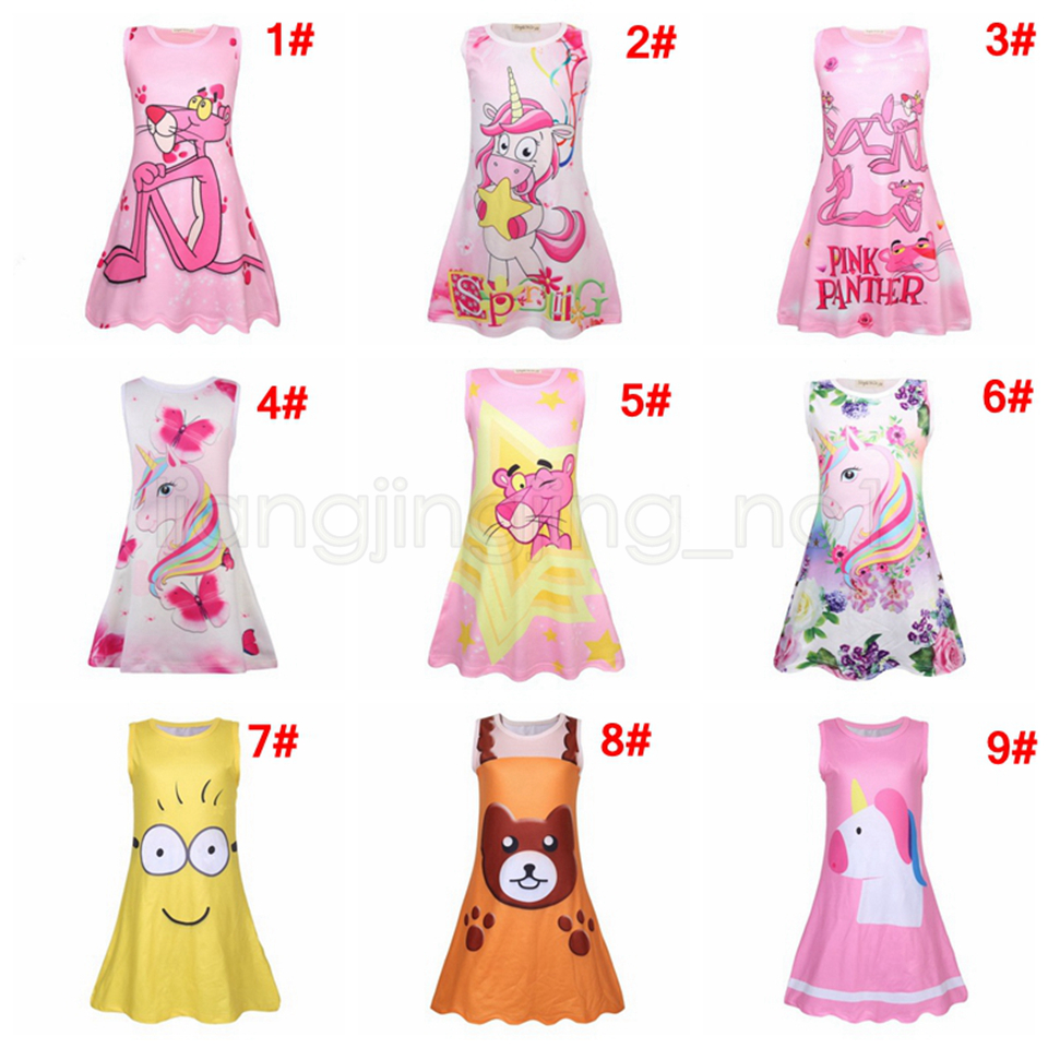 4b6f50661 Rainbow Unicorn Print Dress Baby Girls Pink Panther Children ...