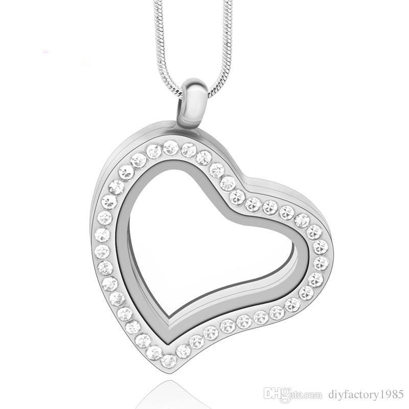 30mm Silver Heart Magnetic Glass Floating Charm Locket Zinc Alloy
