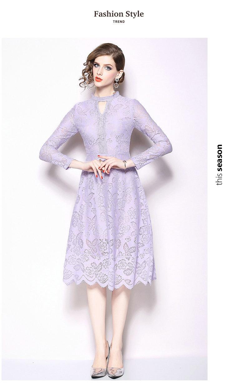 4a6e6cf2603 Long Sleeve Women Lace Dress Small Stand Collar Spring Autumn Dress ...