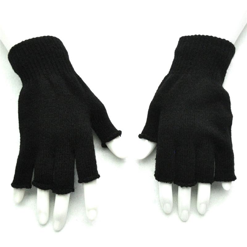 Teenage Winter Gloves Half Finger Fingerless Gloves Men Women Solid ...