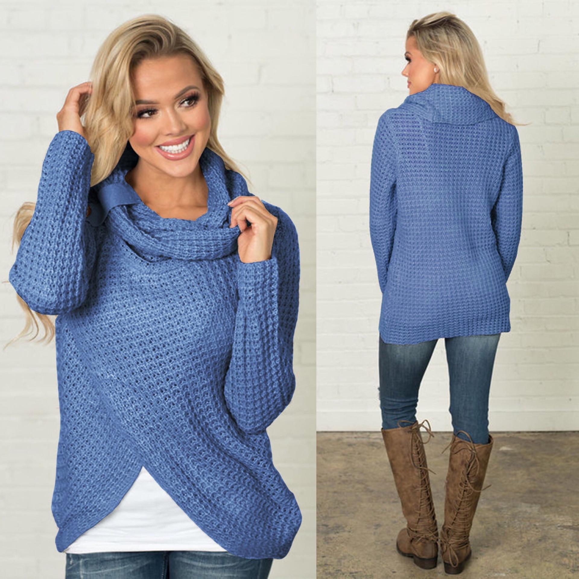 Womens Pullover Sweater Long Sleeve Turtleneck Asymmetrical Casual ... f87d3aa1d
