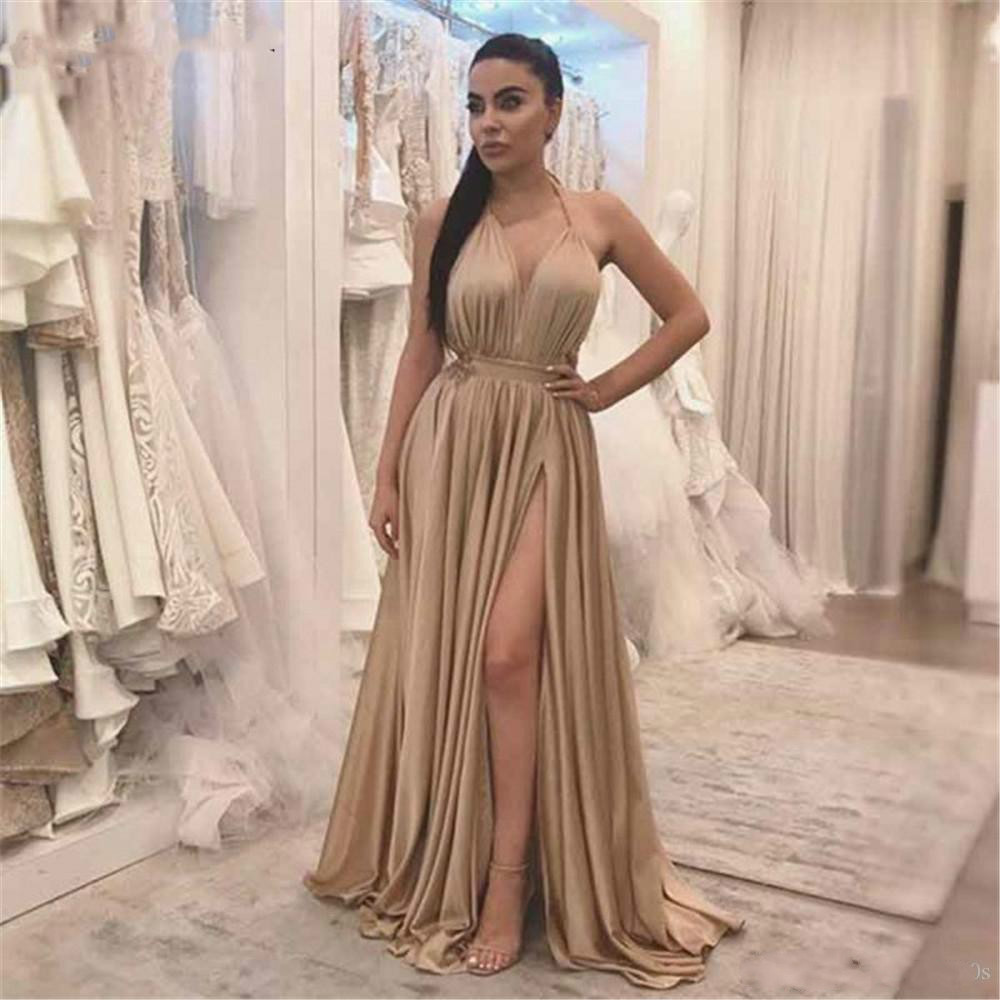 1036087f8e 2019 Sexy Champagne Long Formal Evening Dress High Split Halter Backless A  Line Cheap Prom Gowns 2019 Vestido De Festa Inexpensive Plus Size Prom  Dresses ...