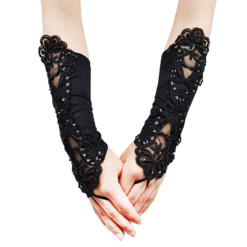 Women Lace Embroidered Bridal Gloves